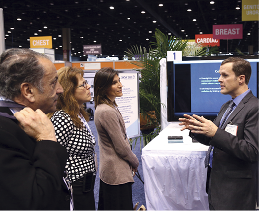 Radiologists may have a considerable impact in reducing unnecessary imaging by providing expert guidance to other physicians, research shows. In a study of the records of 5 million subscribers to a national health plan from 2009-2010, Mark Hiatt, M.D., M.B.A. (above at RSNA 2013), radiologist consultations led to the cancellation of more than 19,000 CTs and the changing of more than 5,000 CT exams to other modalities.