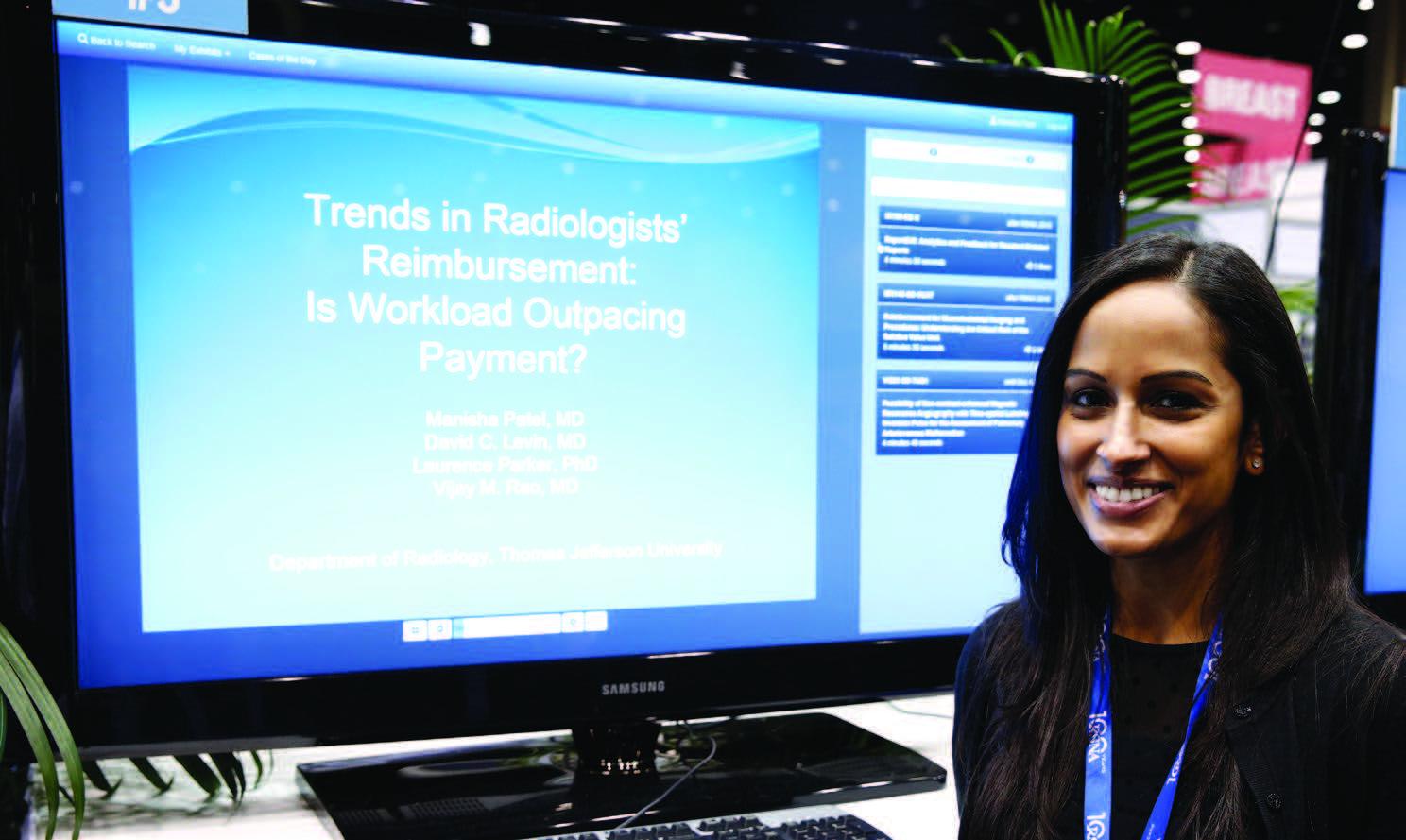 Manisha Patel, M.D., presented an analysis of reimbursement trends at RSNA 2015.