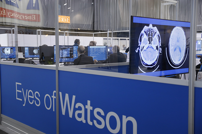 Meeting attendees test their skills at the Eyes of Watson demonstration during RSNA 2016