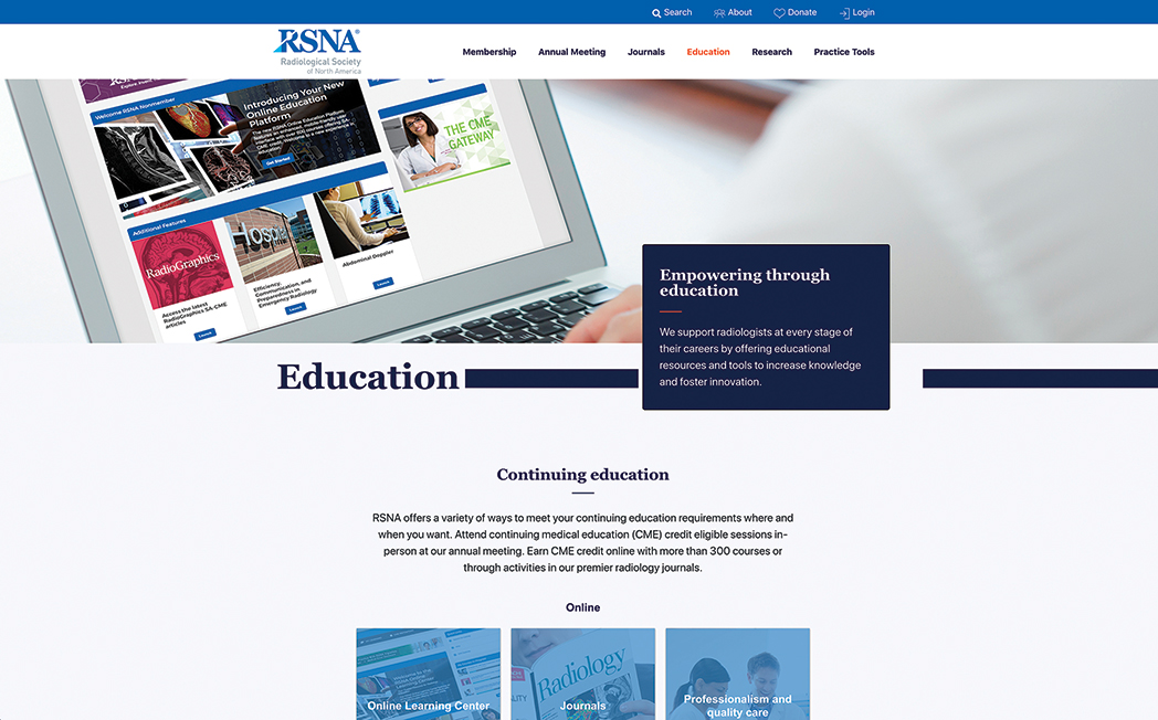 Education page screenshot