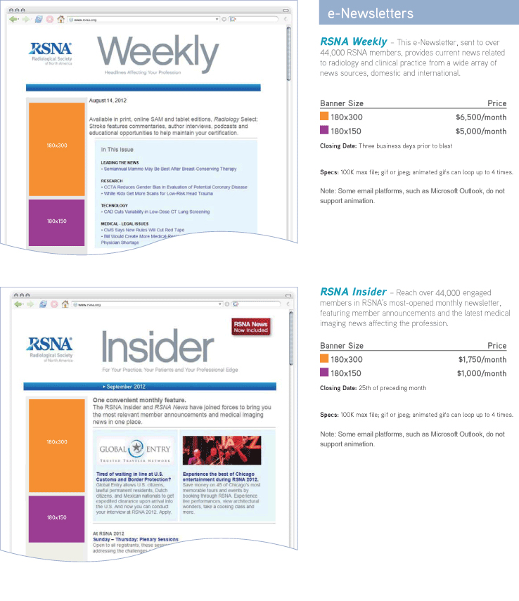 Advertising RSNA Weekly and INsider