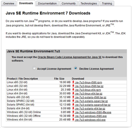 screenshot - Java SE Runtime Environment 7 Downloads