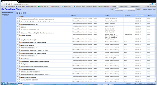 screenshot - My Teaching Files list
