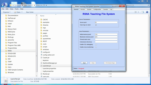 screenshot - RSNA Teaching File System dialog box