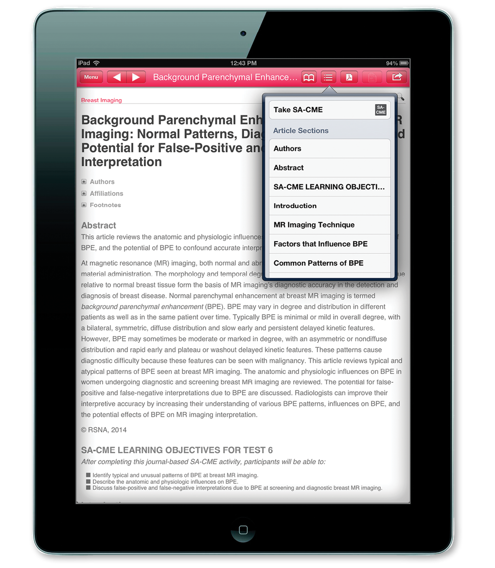 RadioGraphics CME on iPad