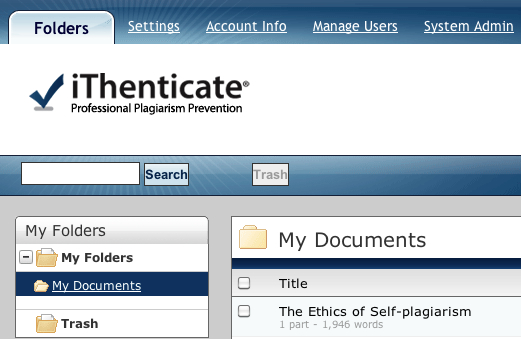 iThenticate dashboard