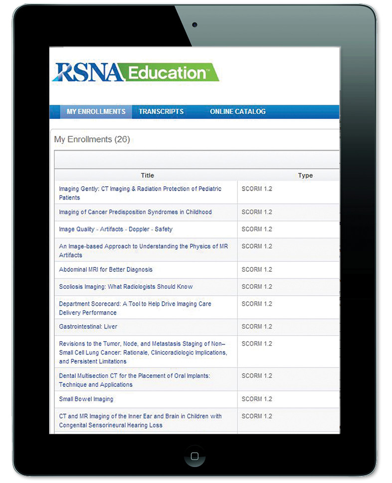 RSNA Online Education on iPad