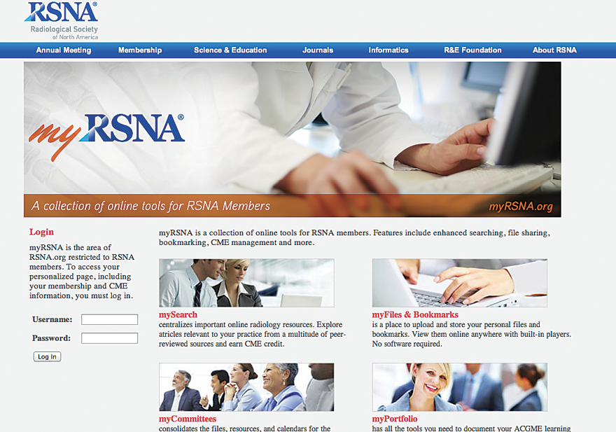 myRSNA screenshot
