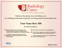 Radiology Cares certificate thumbnail